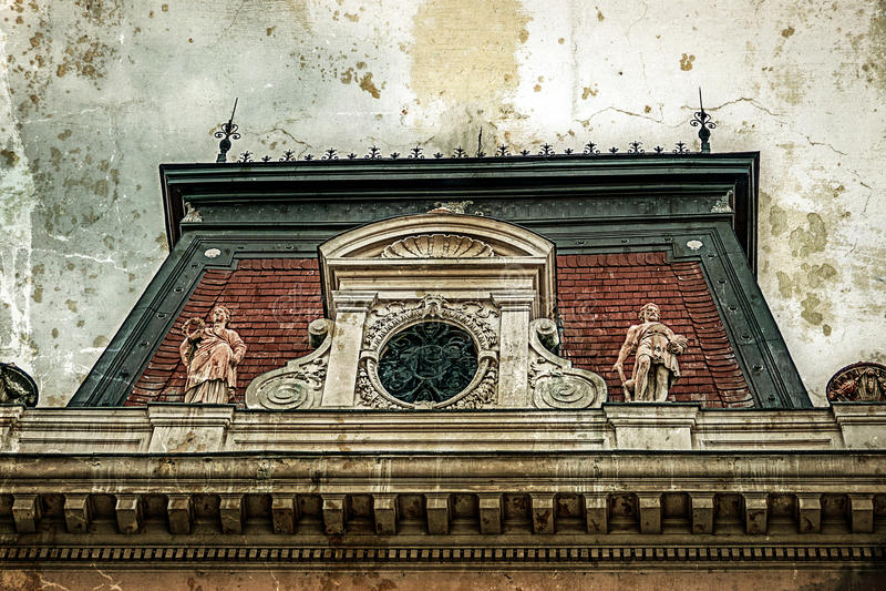 Oude foto met voorgevel bij de klassieke bouw Belgrado, Servië 2 royalty-vrije stock afbeeldingen