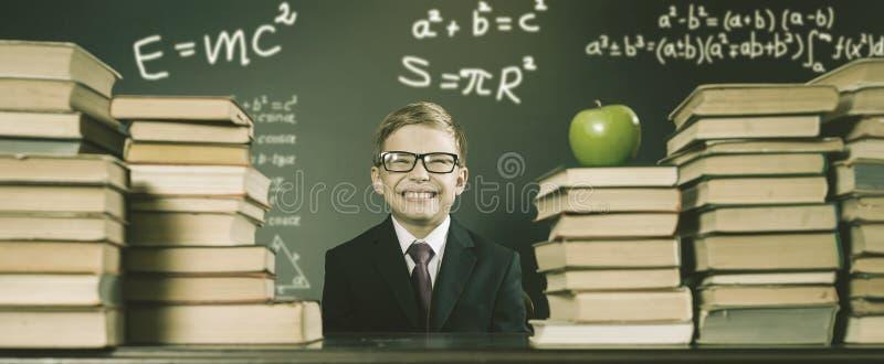 Oude Foto van terug naar School, September Uw Schooljongen stock afbeelding