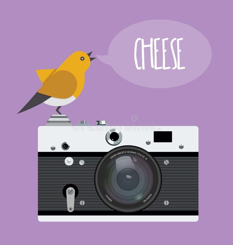 Oude fotocamera met realistische lens en beeldverhaalvogel, de kaas van de tekstbel Vectorillustratie, vlakke stijl vector illustratie