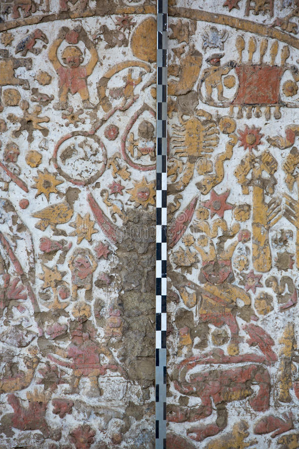 Oude fresko in La Luna, Trujillo van Huaca DE royalty-vrije stock afbeeldingen