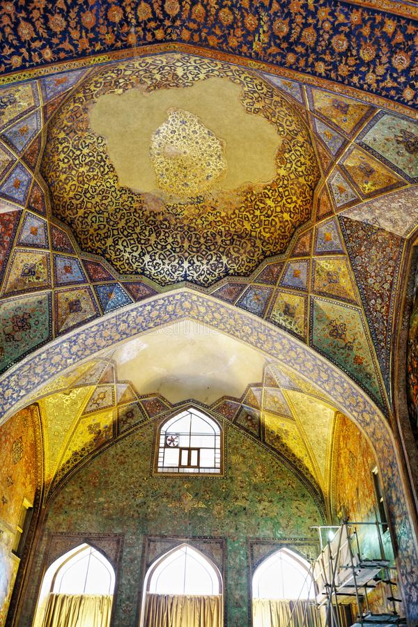 Oude fresko in paleis Chehel Sotoun stock fotografie