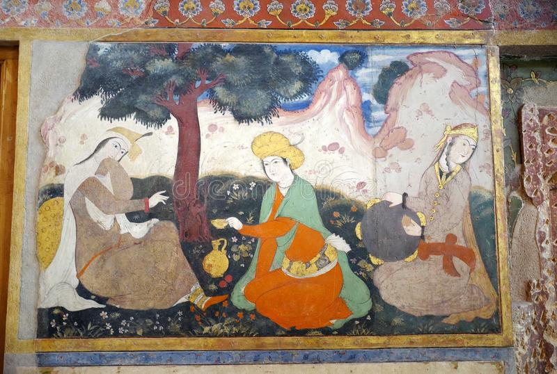 Oude fresko in paleis Chehel Sotoun royalty-vrije stock foto's
