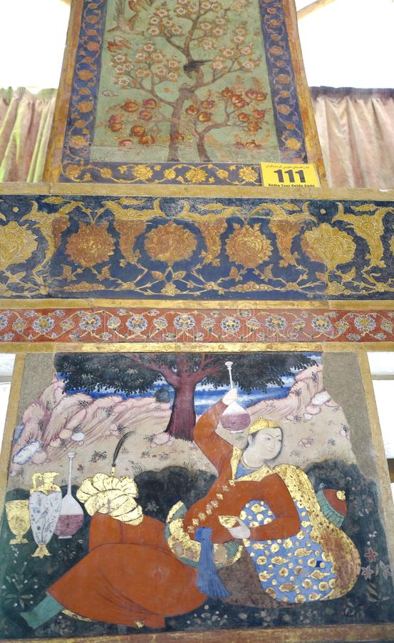 Oude fresko in paleis Chehel Sotoun royalty-vrije stock afbeelding