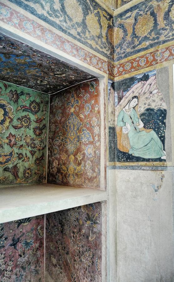 Oude fresko in paleis Chehel Sotoun royalty-vrije stock fotografie