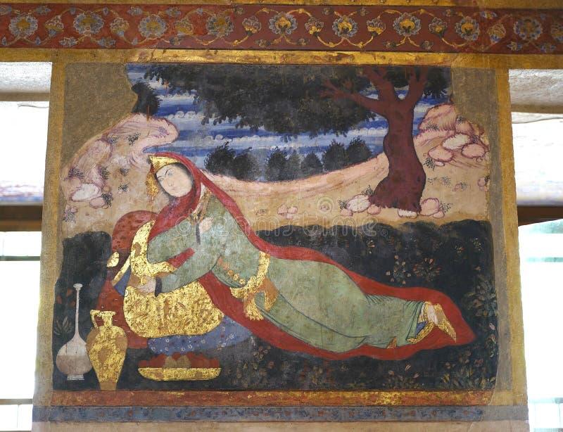 Oude fresko in paleis Chehel Sotoun royalty-vrije stock foto
