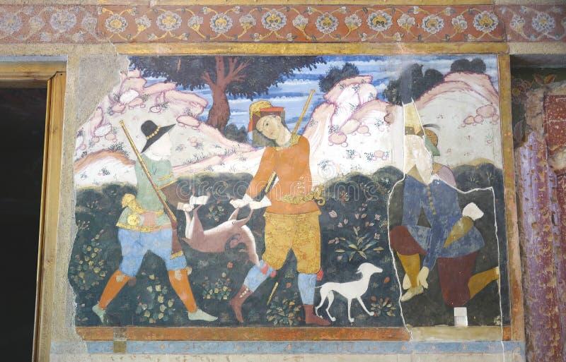 Oude fresko in paleis Chehel Sotoun stock foto's