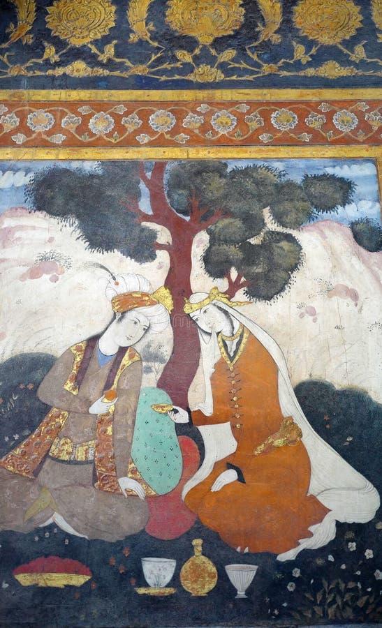 Oude fresko in paleis Chehel Sotoun royalty-vrije stock afbeeldingen