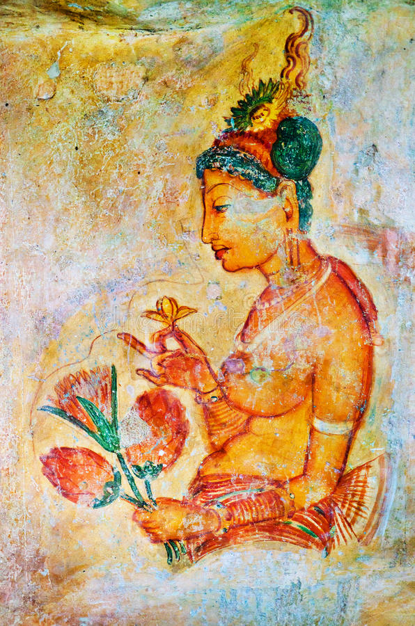Oude fresko's op onderstel Sigiriya, Ceylon royalty-vrije stock afbeeldingen