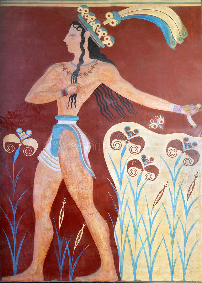 Oude fresko van Knossos, Kreta royalty-vrije stock foto