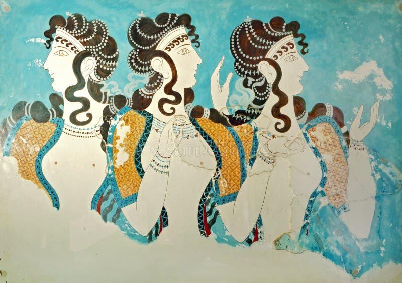 Oude fresko van Knossos, Kreta, Griekenland royalty-vrije stock fotografie