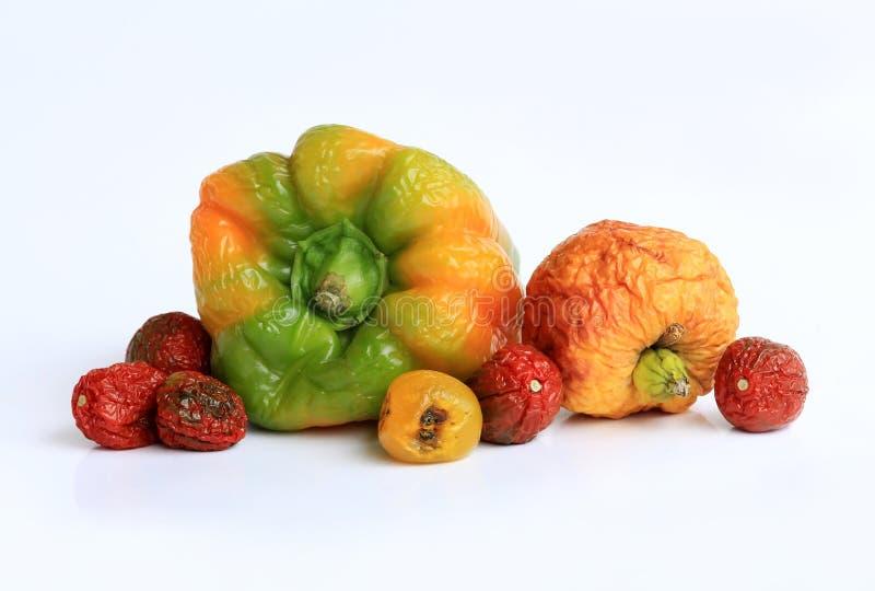 Oude fruit en groenten stock afbeelding