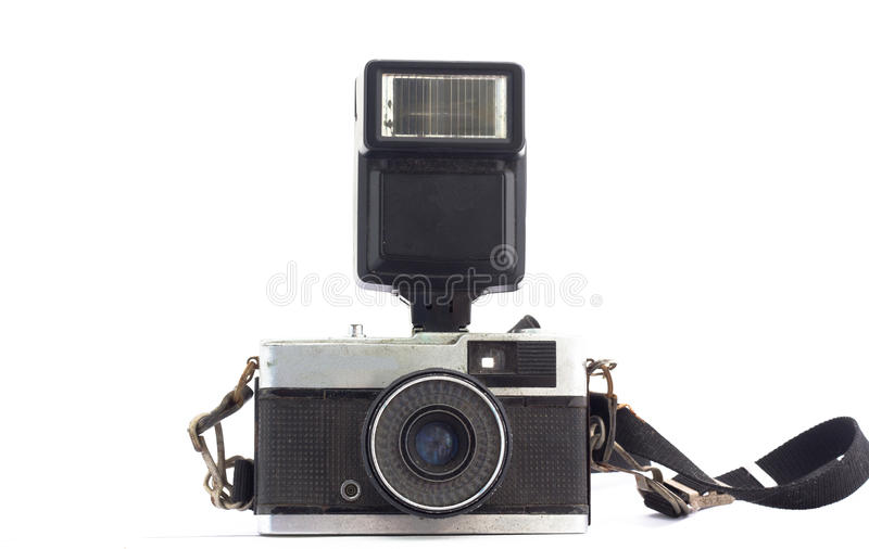 Oude geïsoleerde filmcamera stock fotografie