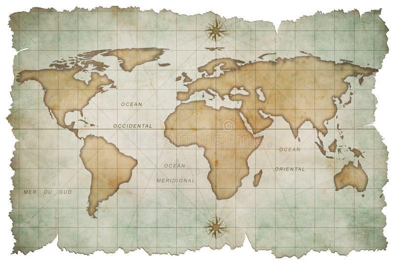Oude geïsoleerde wereldkaart vector illustratie