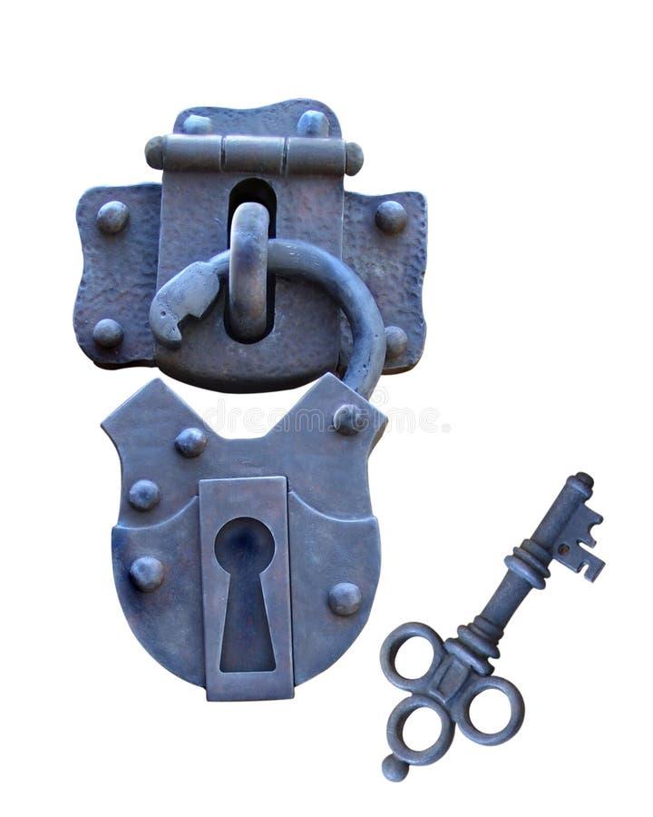 Oude geïsoleerds slot en sleutel stock foto's