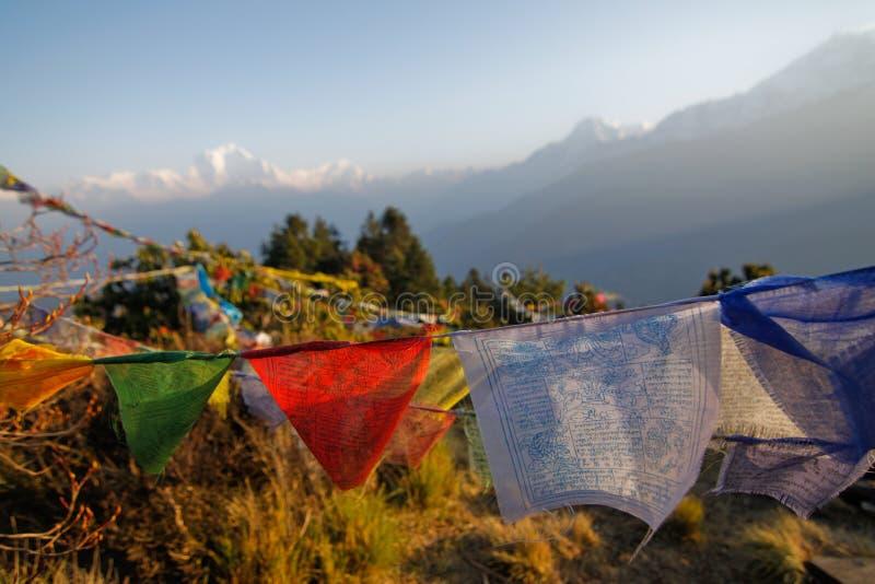 Oude gebedvlag in Poon hillin Nepal stock afbeelding