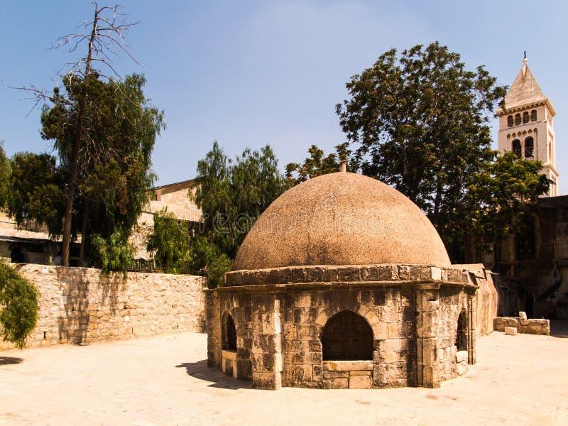 Oude gebouwen in een Koptisch deel van het complex van de Basiliek o royalty-vrije stock foto's