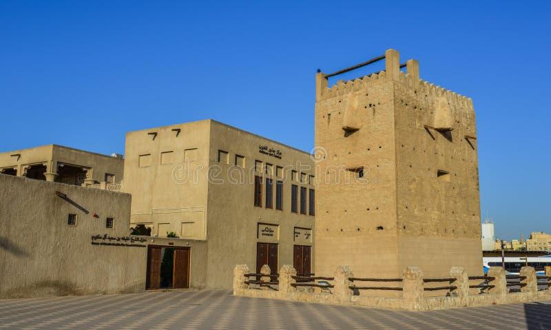 Oude gebouwen in het Bastakia-kwart royalty-vrije stock afbeeldingen