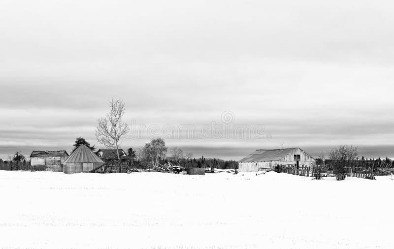 Oude gebouwen in verlaten boerenerf stock fotografie