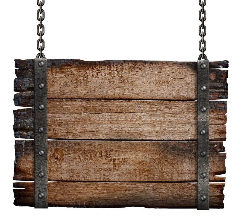 Oude gebrande houten tekenraad op ketting royalty-vrije stock afbeeldingen