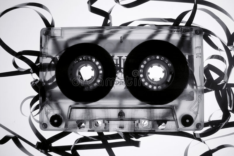 Oude gebroken band cassete royalty-vrije stock afbeeldingen