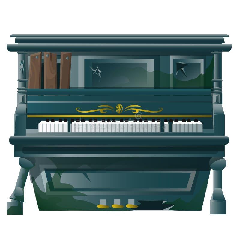 Oude gebroken Grote piano met kogelgaten royalty-vrije illustratie