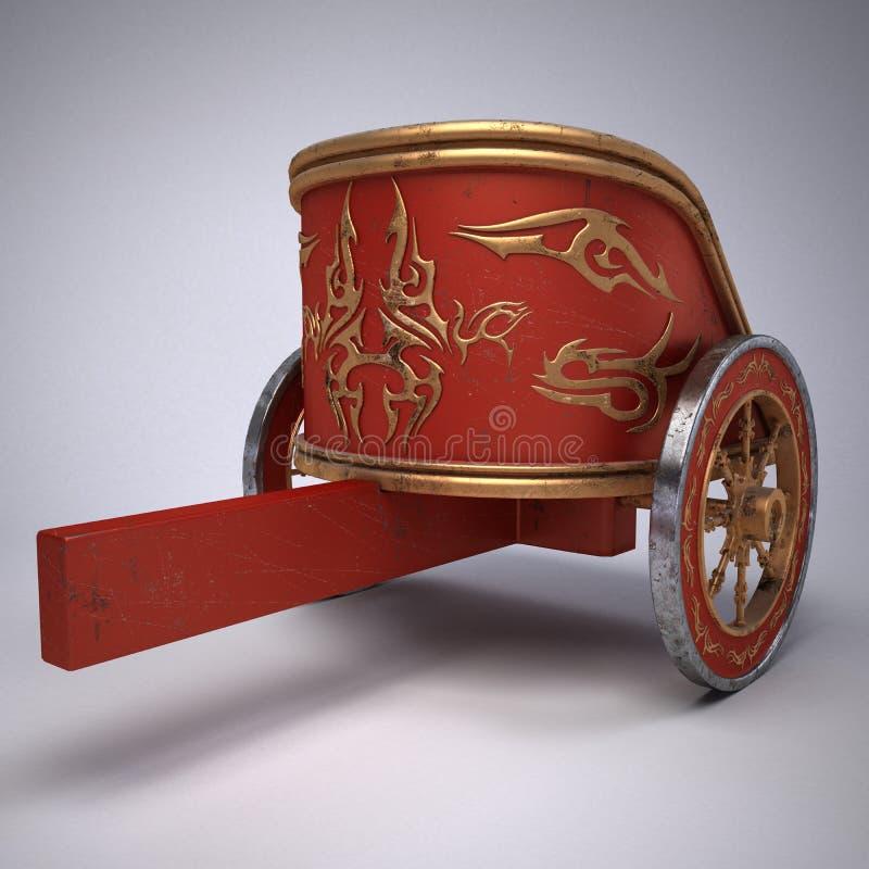 Oude gekraste roman blokkenwagen op gradiënt witte achtergrond metaalwielen en gouden decoratie 3D Illustratie royalty-vrije illustratie