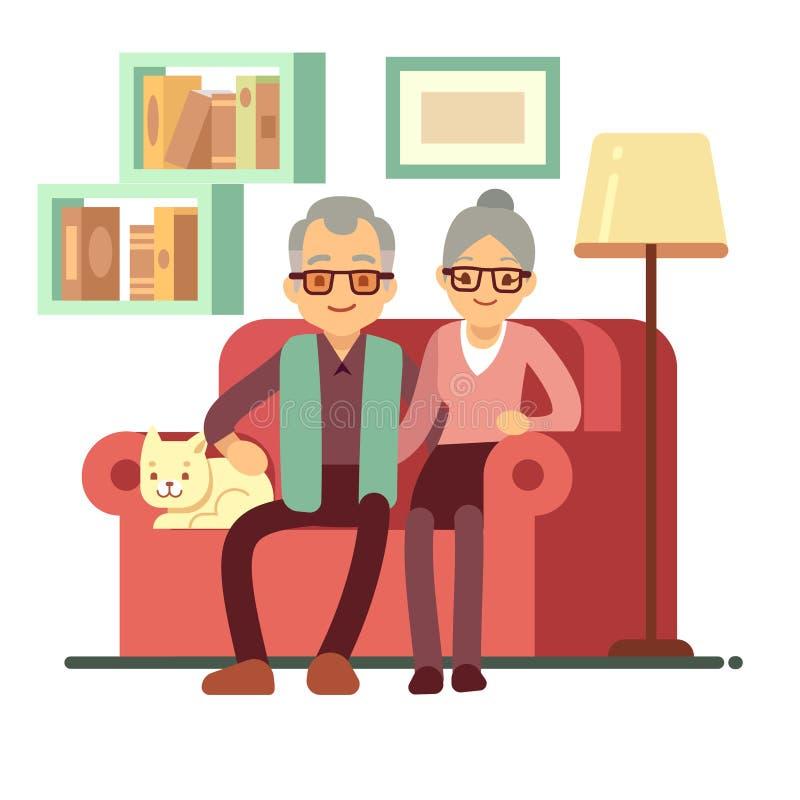 Oude gelukkige familie - echtgenoot en vrouw op bank thuis Pensionerings vectorconcept royalty-vrije illustratie