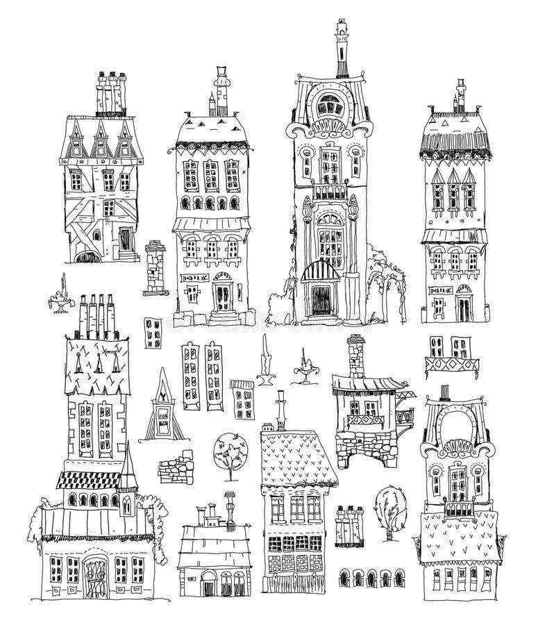 Oude geplaatste gebouwen Schetsinzameling vector illustratie
