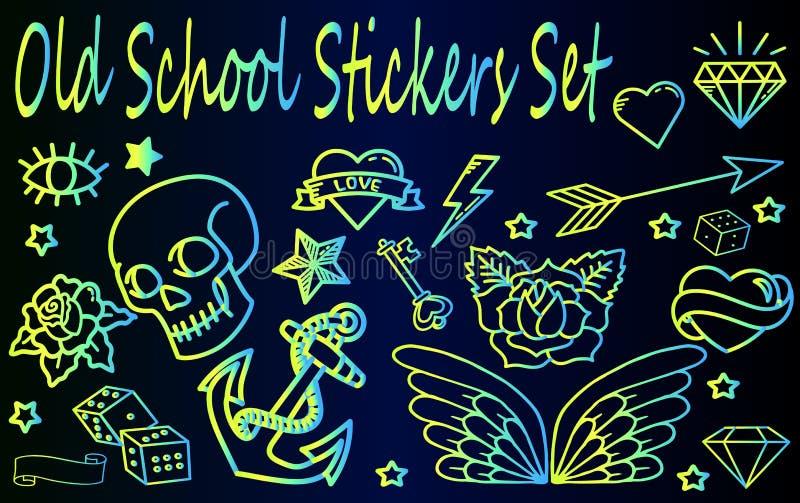 Oude Geplaatste Schoolstickers stock illustratie