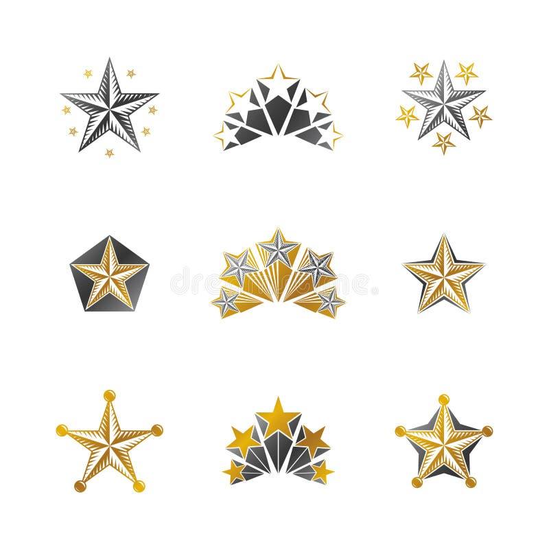 Oude geplaatste Sterrenemblemen De heraldische vectorinzameling van ontwerpelementen vector illustratie