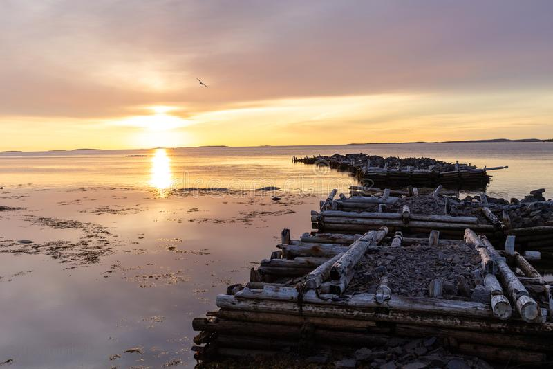 Oude geruïneerde pijler in het overzees in de vroege ochtend op een kleurrijke zonsopgang over het Witte Overzees stock afbeeldingen