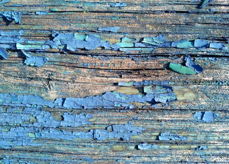 Oude geschilderde gebarsten raad met blauwe kleurenschil Oude natuurlijke grunge geweven houten achtergrond Doorstaan hout voor o royalty-vrije stock fotografie