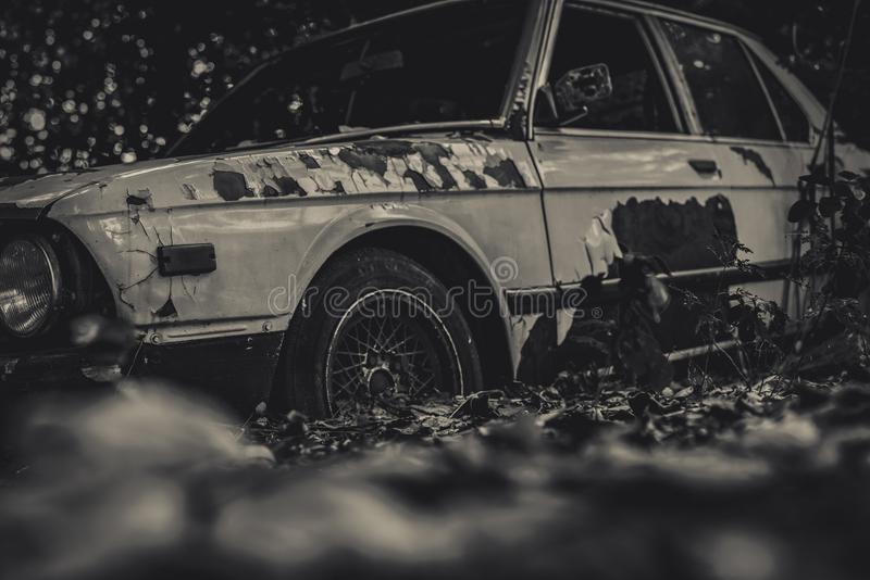 Oude gesloopte auto in zwart-witte scène Verlaten roestige auto in het bos op bokehachtergrond Rot en roestig gesloopt verlaat royalty-vrije stock foto's