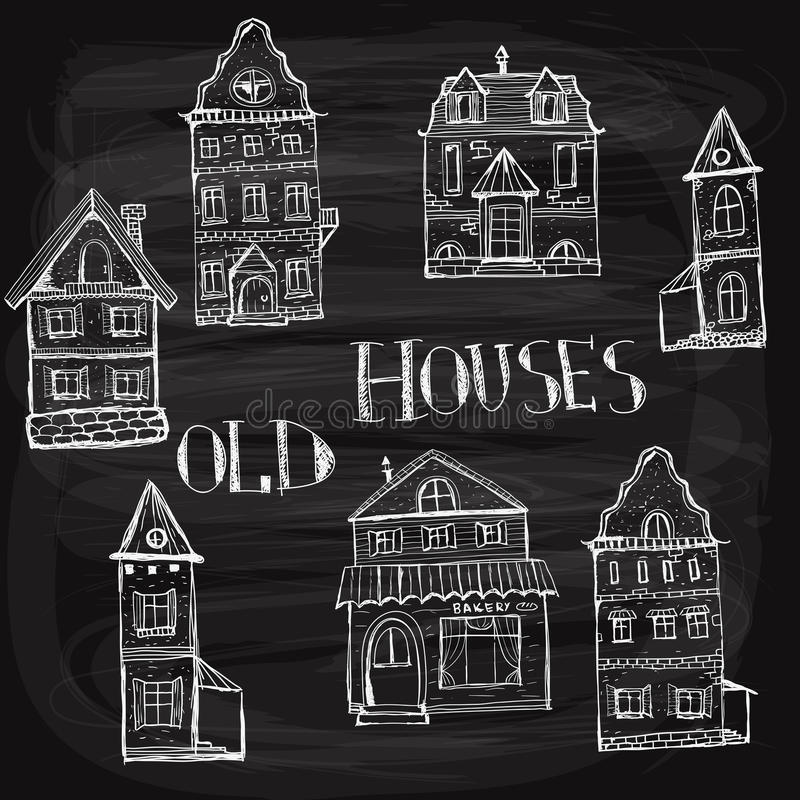 7 oude gestileerde huizen vector illustratie