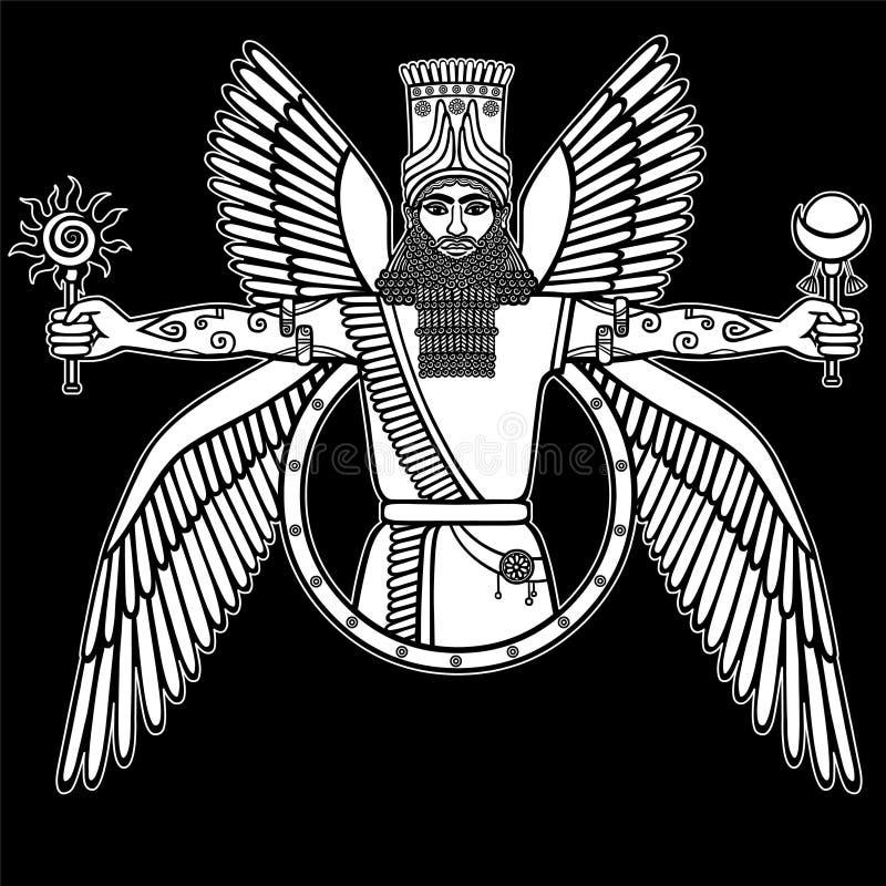 Oude gevleugelde deity van Assyrian vector illustratie