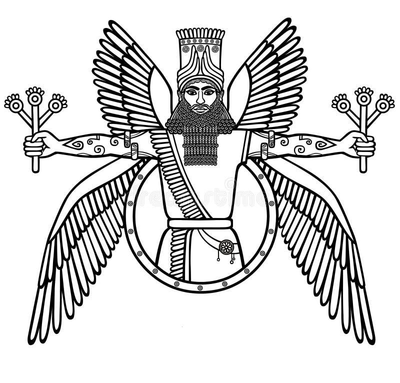 Oude gevleugelde deity van Assyrian Karakter van Sumerische mythologie royalty-vrije illustratie