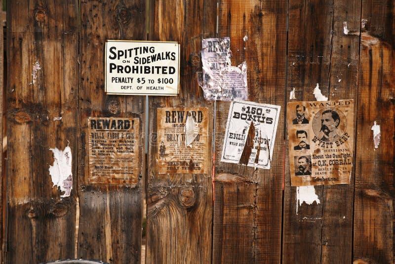 Oude gewilde affiche 18xx royalty-vrije stock fotografie