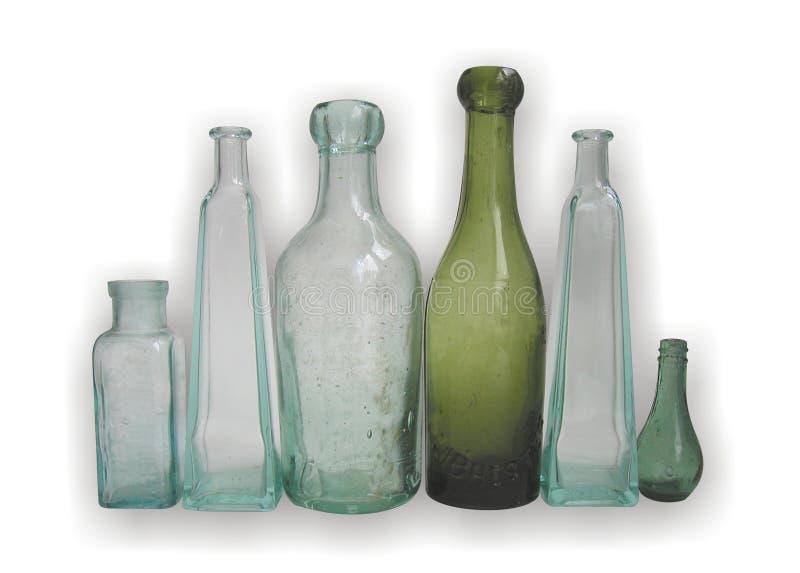 Oude glasflessen royalty-vrije stock fotografie