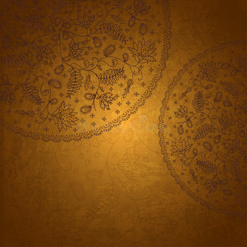 Oude gouden achtergrond in uitstekende stijl stock illustratie
