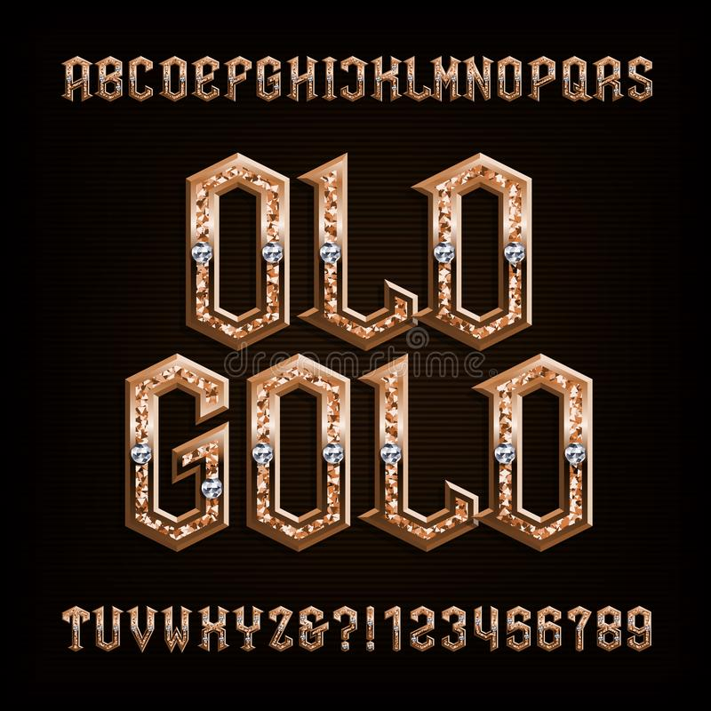 Oude gouden alfabetdoopvont Overladen gouden letters en getallen met diamanten vector illustratie