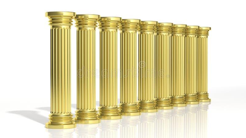 Oude gouden pijlers stock illustratie