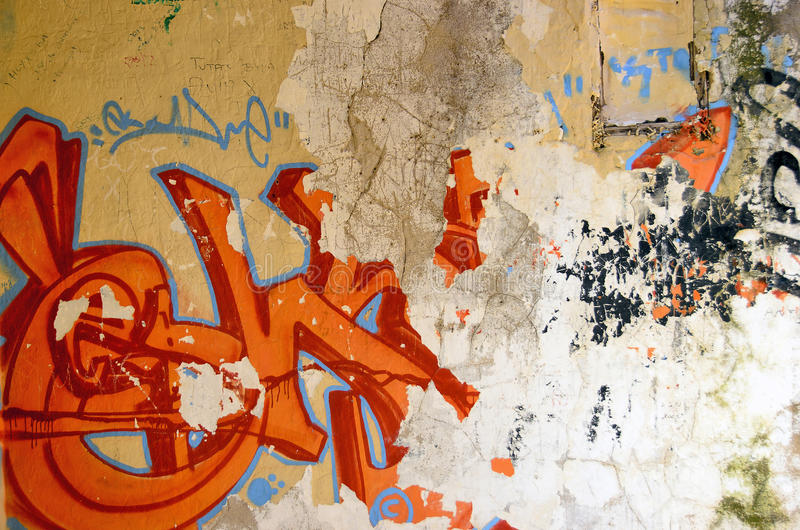 Oude graffitiachtergrond stock foto