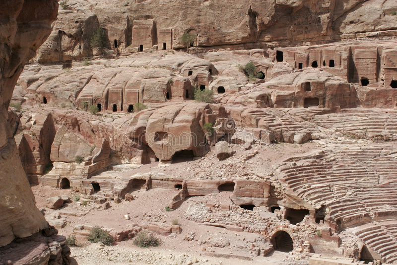 Oude graven in Petra, Jordanië, het Midden-Oosten stock foto's