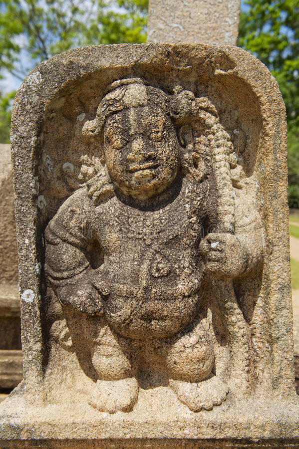 Oude gravure in Anuradhapura, Sri Lanka stock fotografie