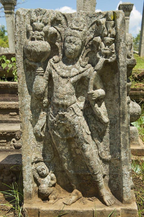Oude gravure in Anuradhapura, Sri Lanka royalty-vrije stock foto