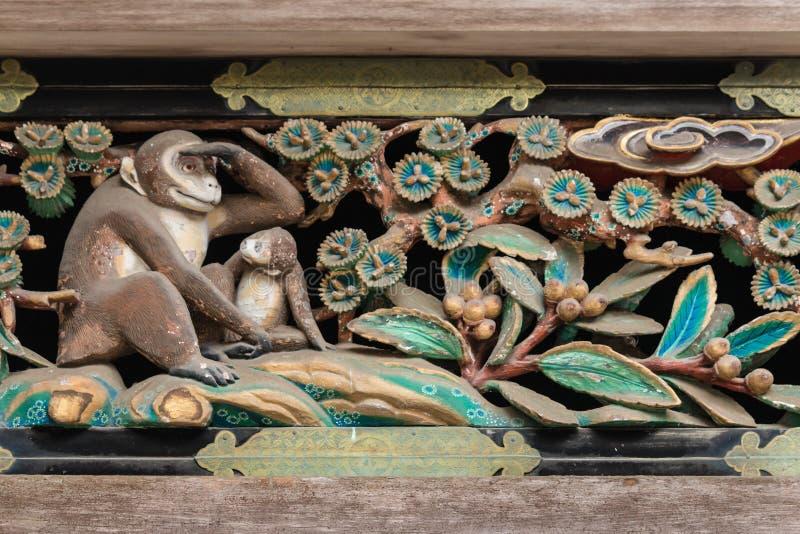 Oude gravure op heiligdom in Nikko Tosho -tosho-gu stock afbeeldingen