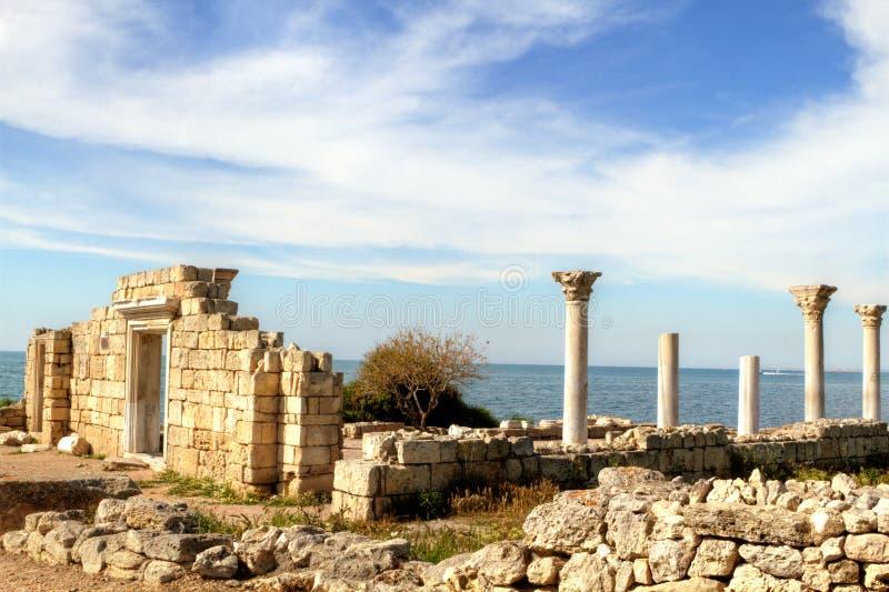 Oude Griekse basiliek stock afbeelding