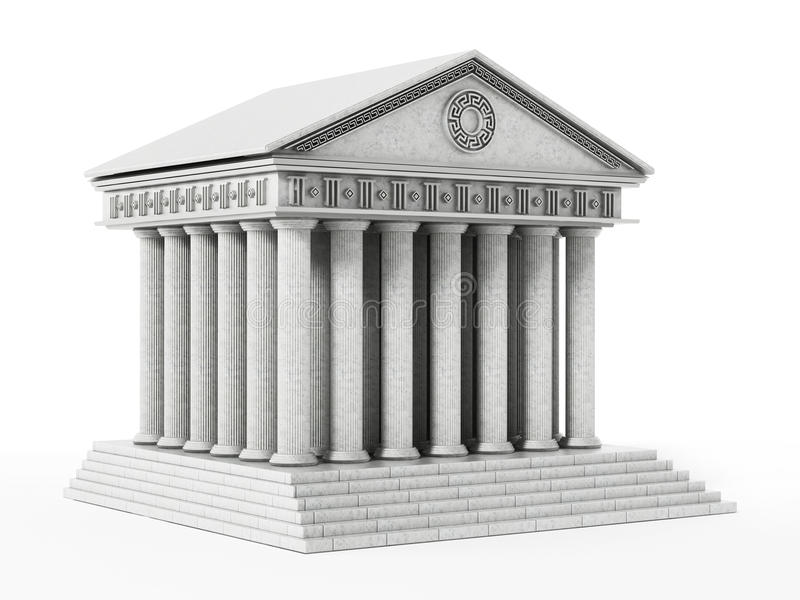 Oude Griekse die tempel op witte achtergrond wordt geïsoleerd 3D Illustratie stock illustratie