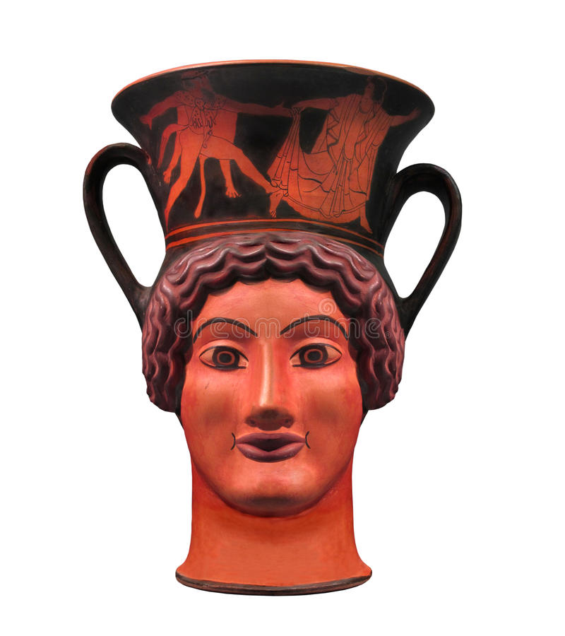 Oude Griekse geïsoleerder aardewerkkop. stock fotografie
