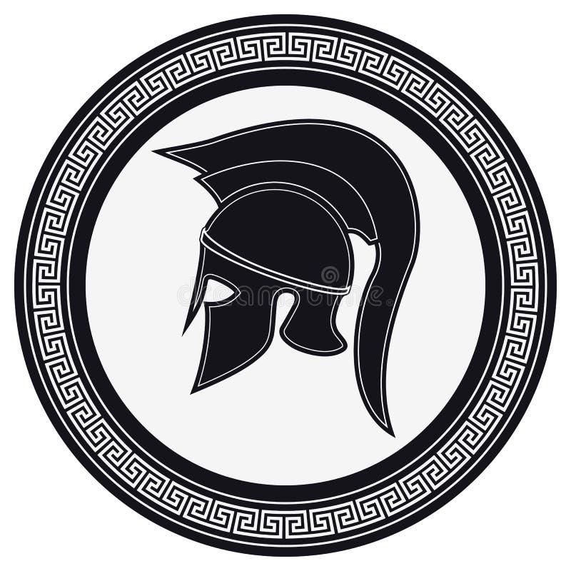 Oude Griekse Helm met een CREST op het Schild op een Witte Backg stock illustratie